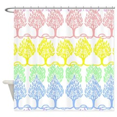 Pastel Trees Shower Curtain