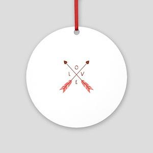 Love Heart Arrows Ornament (Round)