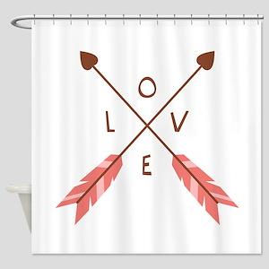 Love Heart Arrows Shower Curtain