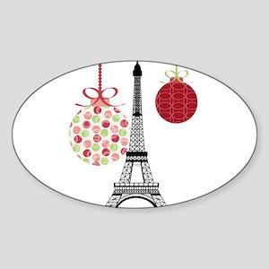 Merry Christmas Eiffel Tower Ornaments Sticker