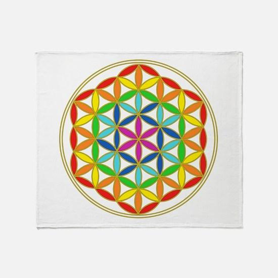 Flower of Life Chakra Throw Blanket