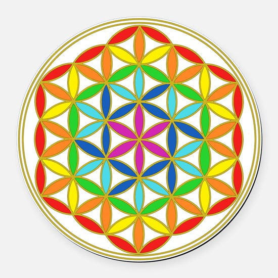 Flower of Life Chakra Round Car Magnet