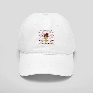 Ice Cream Cone on Polka Dots Baseball Cap