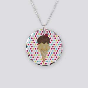 Ice Cream Cone on Polka Dots Necklace