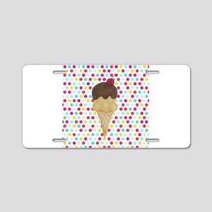 Ice Cream Cone on Polka Dots Aluminum License Plat