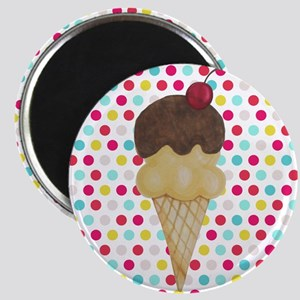 Ice Cream Cone on Polka Dots Magnets