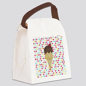Ice Cream Cone on Polka Dots Canvas Lunch Bag