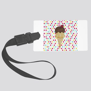 Ice Cream Cone on Polka Dots Luggage Tag