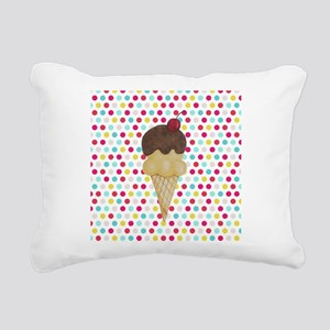 Ice Cream Cone on Polka Dots Rectangular Canvas Pi