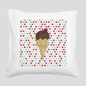 Ice Cream Cone on Polka Dots Square Canvas Pillow