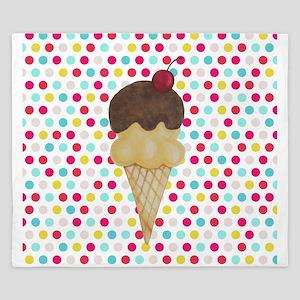 Ice Cream Cone on Polka Dots King Duvet