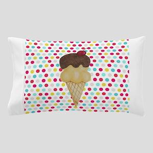 Ice Cream Cone on Polka Dots Pillow Case