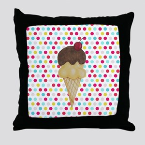 Ice Cream Cone on Polka Dots Throw Pillow