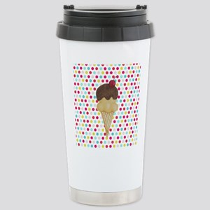 Ice Cream Cone on Polka Dots Travel Mug