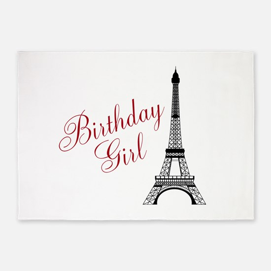 Birthday Girl Eiffel Tower 5'x7'Area Rug