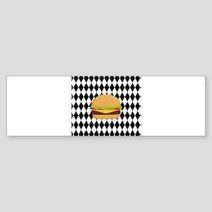 Hamburger on Black and White Diamonds Bumper Stick