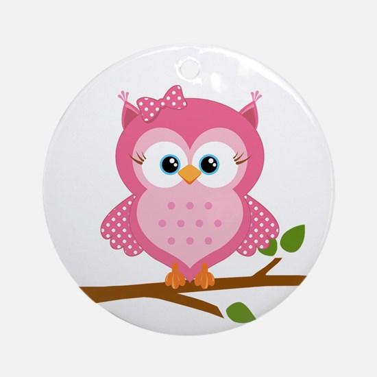 Pink Owl on a Branch Ornament (Round)