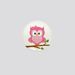 Pink Owl on a Branch Mini Button