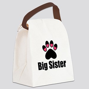 Big Sister Paw Print Canvas Lunch Bag
