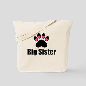 Big Sister Paw Print Tote Bag
