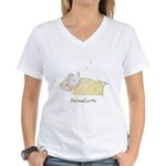 Sleeping Mouse Women's V-Neck T-Shirt