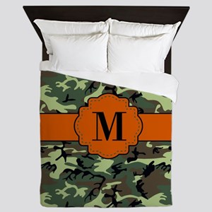 Camouflage Orange Monogram Queen Duvet