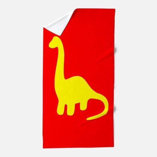 Yellow Dinosaur Beach Towel