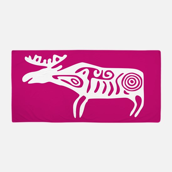 Pink Tribal Elk Beach Towel