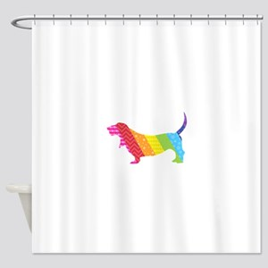 Somewhere Over the Basset Shower Curtain
