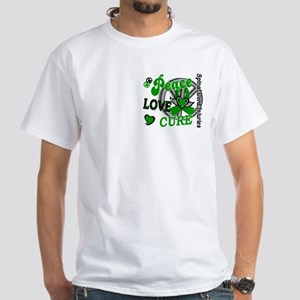 Spinal Cord Injury PeaceLoveCure2 White T-Shirt
