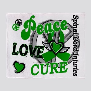 Spinal Cord Injury PeaceLoveCure2 Throw Blanket