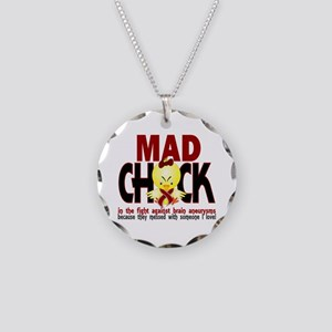 Brain Aneurysm Mad Chick 1 Necklace Circle Charm