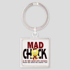 Brain Aneurysm Mad Chick 1 Square Keychain