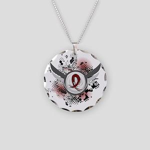 Brain Aneurysm GrungeRibbonW Necklace Circle Charm