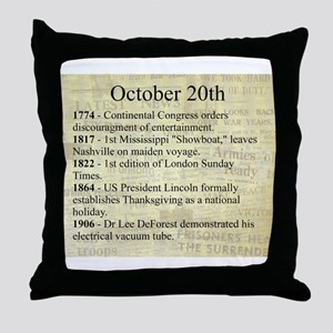 October 20th Throw Pillow