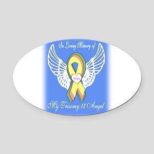 Trisomy Angel Oval Car Magnet