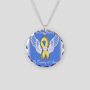 Trisomy Angel Necklace Circle Charm