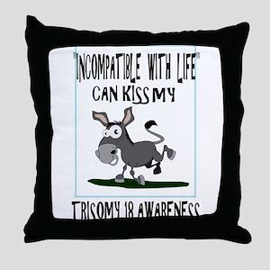 Trisomy 18 Donkey Throw Pillow