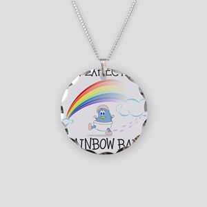 EXPECTING RAINBOW GIRL Necklace Circle Charm