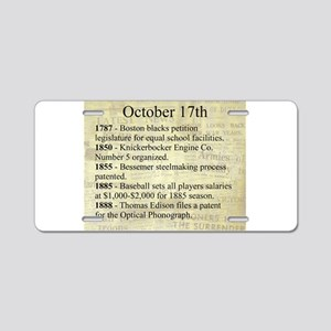 October 17th Aluminum License Plate