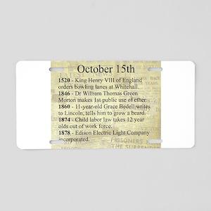 October 15th Aluminum License Plate