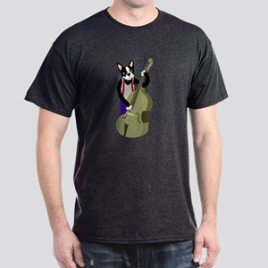 Boston Terrier Upright Bass Player Dark T-Shirt