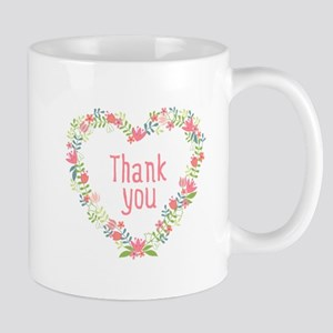 Thank you, floral heart frame Mugs