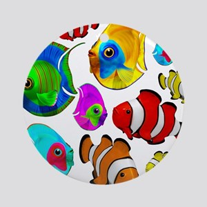 Tropical Fishes Pattern Ornament (Round)
