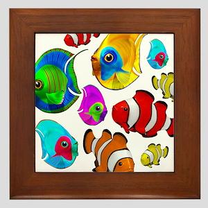 Tropical Fishes Pattern Framed Tile