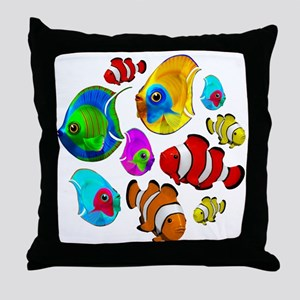 Tropical Fishes Pattern Throw Pillow