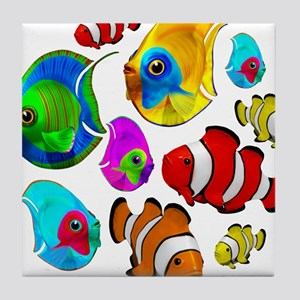 Tropical Fishes Pattern Tile Coaster