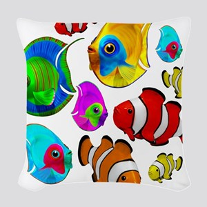 Tropical Fishes Pattern Woven Throw Pillow