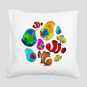 Tropical Fishes Pattern Square Canvas Pillow