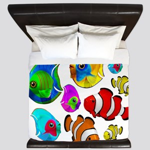 Tropical Fishes Pattern King Duvet